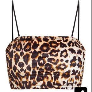Leopard print velvet strappy crop top